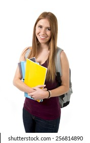 young beautiful college student girl carrying backpack posing happy, confident cheerful and relaxed in university education and academic success concept isolated on white background
