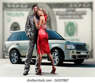 Young beautiful couple backdrop car, money.
