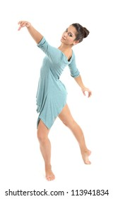 young beautiful dancer in a blue dress isolated on white
