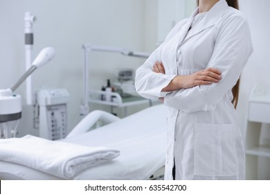 Young beautiful doctor in dermatology clinic