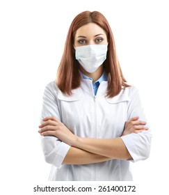 Young beautiful doctor in medical mask isolated on white