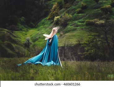 Young and beautiful elf walks in the mountains. Strong wind waves her long, white hair. The girl is dressed elegant, elven cloak and crown handmade. Creative color, fashionable toning