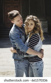 Young beautiful fashion couple wearing jeans clothes