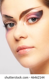 Young beautiful fashion model with make-up professionally
