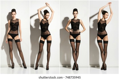 Young and beautiful fashion model posing in stockings and lingerie over white background. Set collection.