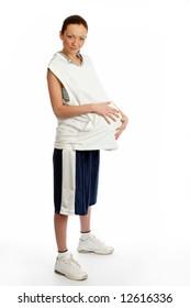 Young beautiful female basket ball player