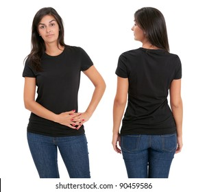 Young beautiful female with blank black shirt, front and back. Ready for your design or artwork.