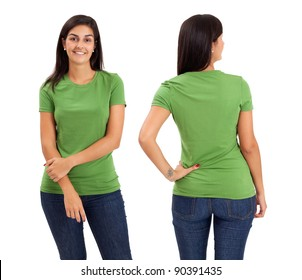 Young beautiful female with blank green shirt, front and back. Ready for your design or logo.