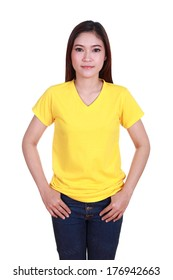 young beautiful female with blank yellow t-shirt isolated on white background