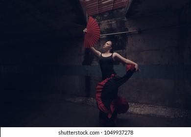 Young beautiful flamenco dancing, street dance concept