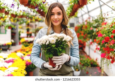 Young beautiful florist