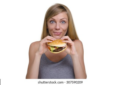 young beautiful girl with a Burger isolated on white background