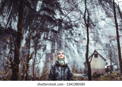 03fa19d689559 Young beautiful girl dressed in grey jacket and balaclava