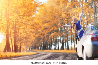 Young beautiful girl in dresses on nature. A girl in a hat walks in the park. Young woman on picnic with a basket outside the city.
