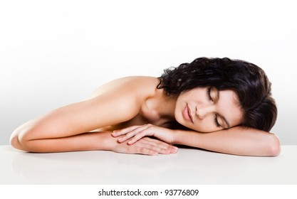 Young beautiful girl with eyes closed