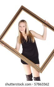 young beautiful girl with the frame in her hands