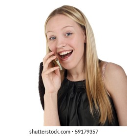 young beautiful girl glad speaking phone
