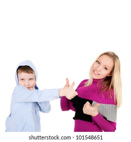 young beautiful girl and handsome little boy showing ok sign