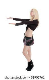 The young beautiful girl isolated with hands up