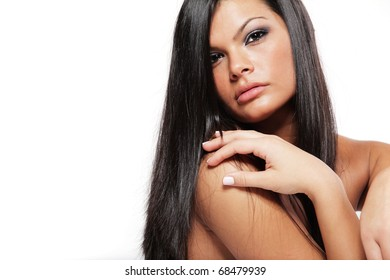 Young beautiful girl with long black hair.