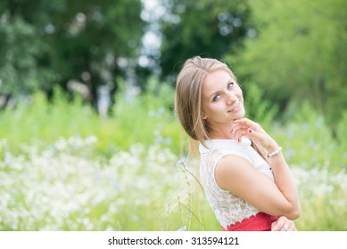 Young beautiful girl on a walk