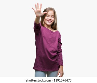 Young beautiful girl over isolated background showing and pointing up with fingers number five while smiling confident and happy.