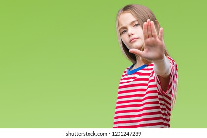 Young beautiful girl over isolated background doing stop sing with palm of the hand. Warning expression with negative and serious gesture on the face.