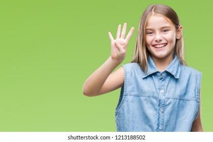 Young beautiful girl over isolated background showing and pointing up with fingers number four while smiling confident and happy.