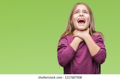 Young beautiful girl over isolated background shouting and suffocate because painful strangle. Health problem. Asphyxiate and suicide concept.