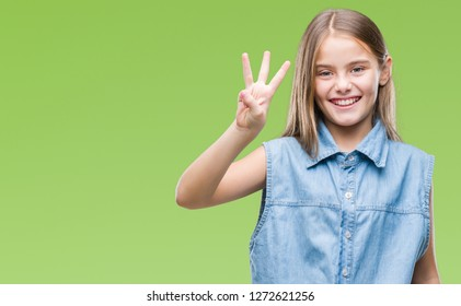 Young beautiful girl over isolated background showing and pointing up with fingers number three while smiling confident and happy.