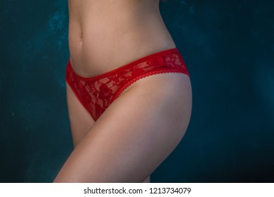 young beautiful girl in red underwear