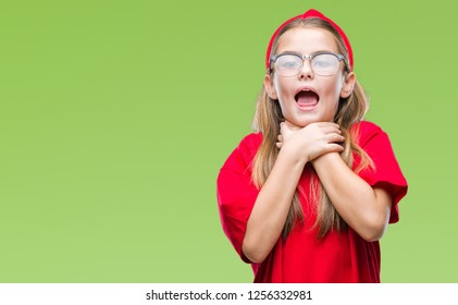 Young beautiful girl wearing glasses over isolated background shouting and suffocate because painful strangle. Health problem. Asphyxiate and suicide concept.