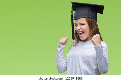 5fa41f8373f Young beautiful girl wearing graduate cap over isolated background very  happy and excited doing winner gesture