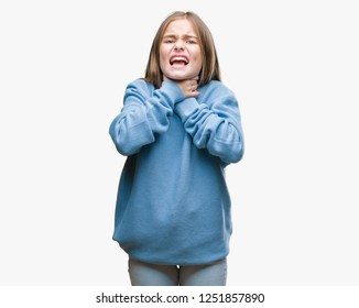 Young beautiful girl wearing winter sweater over isolated background shouting and suffocate because painful strangle. Health problem. Asphyxiate and suicide concept.