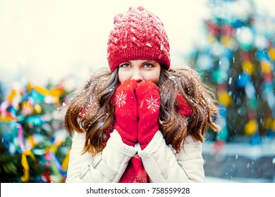 Young beautiful girl in winter