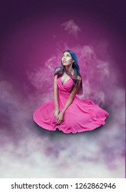 Young beautiful girl or woman in pink dress sitting and looking up. Pink background, white smoke, fantasy art