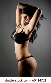 young beautiful girls in elegant black linen