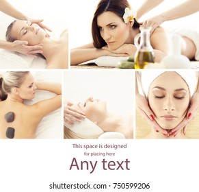 Young, beautiful and healthy woman getting traditional oriental aroma therapy and massaging treatments. Girl relaxing in spa salon. Healthcare and medicine concept collage.