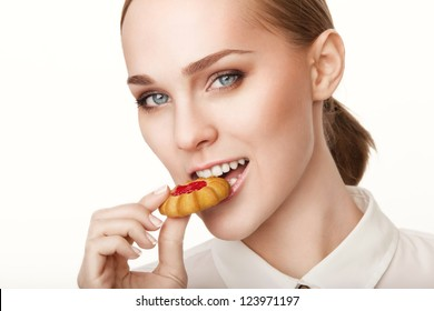 Young beautiful healthy women with cookie
