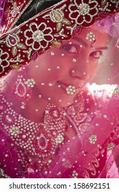 Young beautiful Indian bride looking through traditional veil