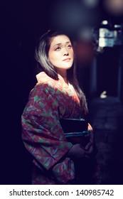 Young beautiful japanese woman wearing kimono at Kyoto Japan