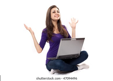 Young beautiful latin brunette using laptop, isolated on white