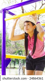 Young beautiful model enjoy  in the park