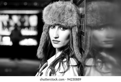 Young beautiful model in fashion photo session