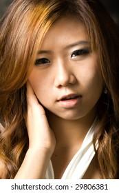 Young beautiful model girl posing