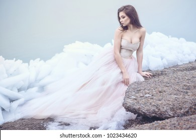 Young beautiful model in luxurious strapless corset ball gown sitting on slabs of broken ice at the misty seaside and looking at the tail of her dress. Winter fairytale concept. Copy space