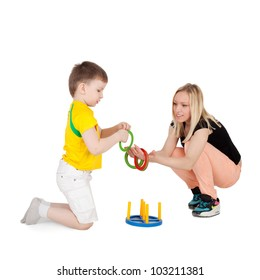 young beautiful mother playing with her child