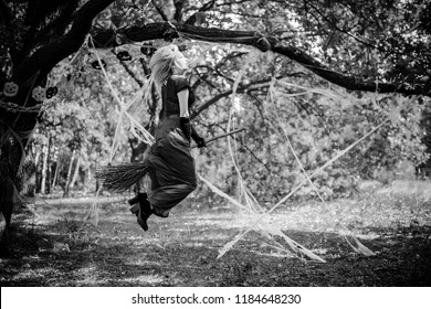 Young beautiful and mysterious Witch woman Flying on the Broom in woods. Levitation, a witch in a hat flies on a broom, free space. Halloween holiday, magic