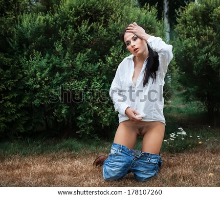 woman gardening Nude