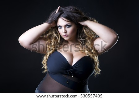 0bf55cbed Young Beautiful Plus Size Model Underwear Stock Photo (Edit Now ...
